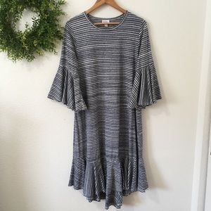 Lularoe Maurine Blue & White Striped Dress